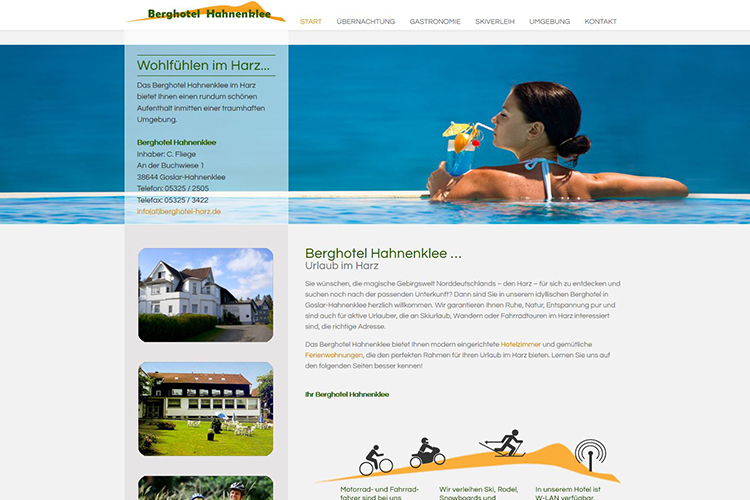 Website f r dienstleistungen 4market werbeagentur in for Designhotel harz